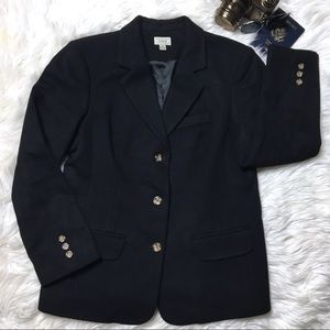 L.L. Bean Wool Cashmere Classic Black Blazer